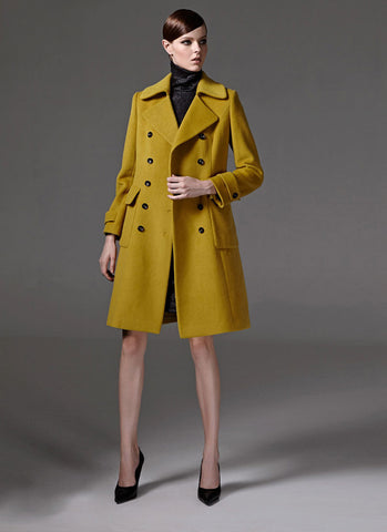 Double Breasted Ginger Yellow Short Cashmere Wool Coat RB105