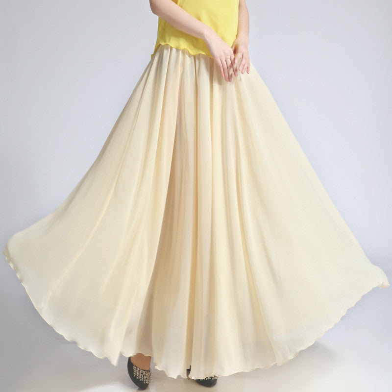 Biege Chiffon Maxi Skirt with Extra Wide Hem - Long Bisque Chiffon Skirt - SK5j