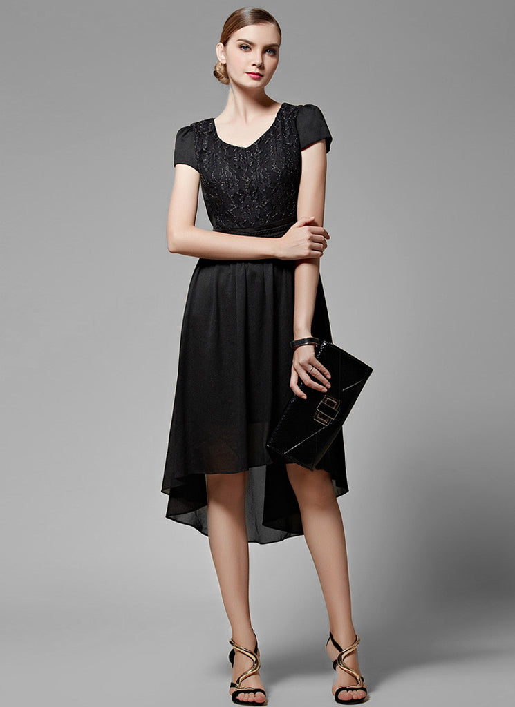 Black Lace Chiffon Hi Lo Hem Midi Dress with Modified V Neck and Cap Sleeves