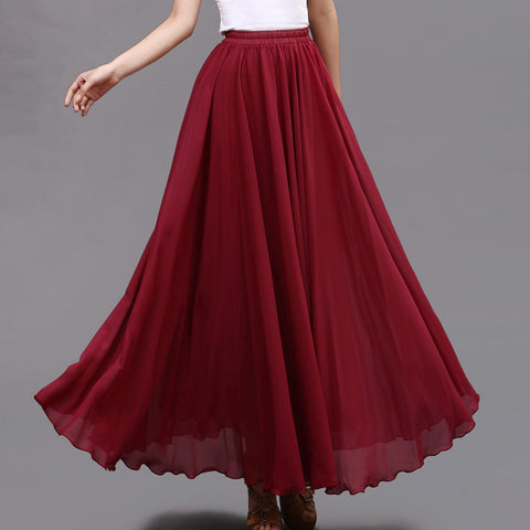 Firebrick Chiffon Maxi Skirt with Extra Wide Hem - Long Wine Red Chiffon Skirt - SK5n