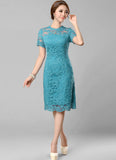 Lake Blue Lace Mini Dress with Eyelash Scalloped Hem and Bow Embellishment
