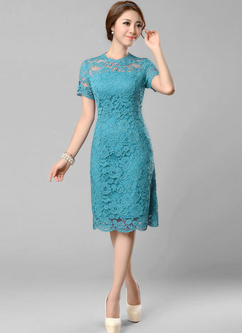 Lake Blue Lace Mini Dress with Eyelash Scalloped Hem and Bow Embellishment RD330