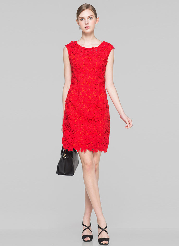 Sleeveless Red Lace Sheath Mini Dress with Embellished Neck