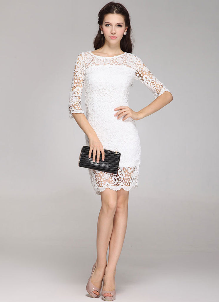 Half Sleeve White Lace Sheath Mini Dress with Scalloped Hem