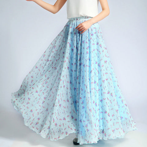 Blue Floral Maxi Skirt - Light Blue Chiffon Maxi Skirt with Pastoral Floral Print - SK7a