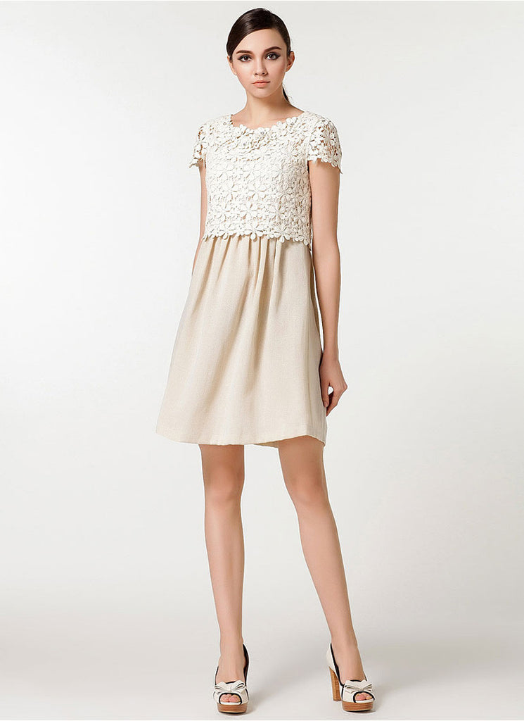 Beige Lace Chiffon Mini Fit and Flare Dress with Scalloped Peplum