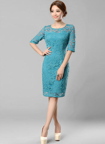 Lake Blue Lace Sheath Mini Dress with Half Sleeves RD332