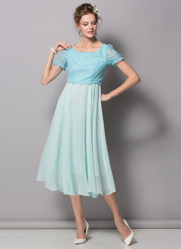 Aqua Lace Chiffon Midi Dress with Puff Sleeves