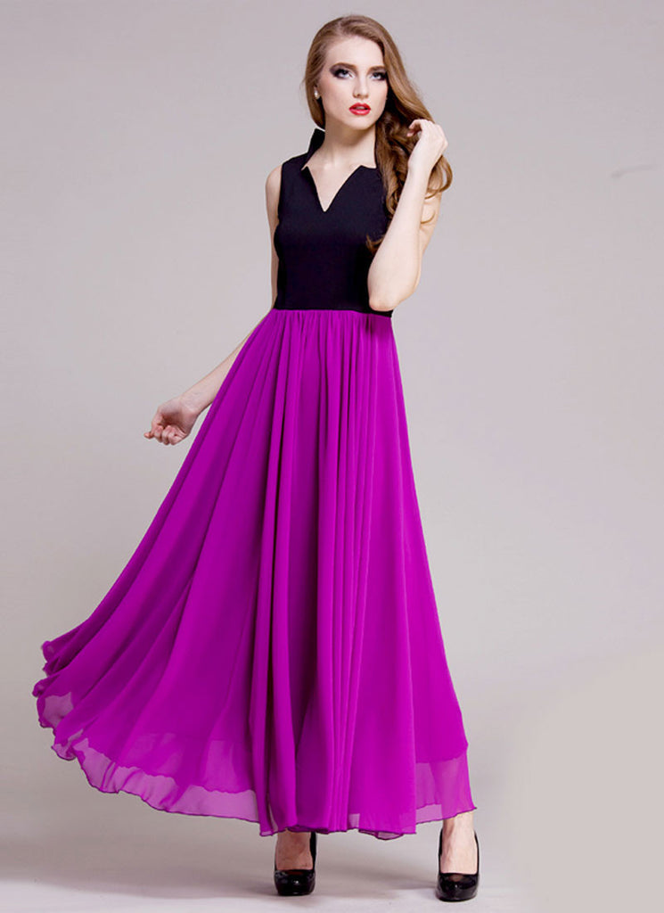 Black and Purple Maxi Dress with Queen Ann Neck