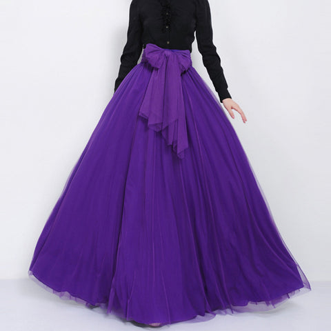 Purple Tulle Maxi Skirt with Bow Sash and Extra Wide Hem - Long Indigo Tulle Skirt Floor Length - SK3c