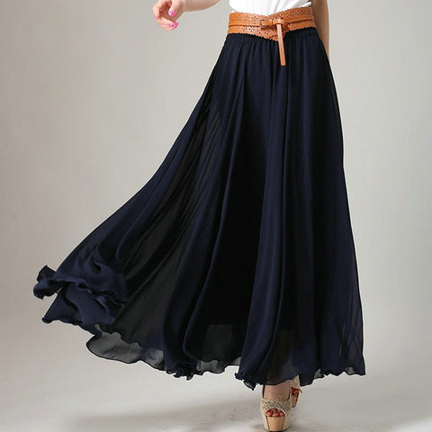 Midnight Blue Chiffon Maxi Skirt with Extra Wide Hem - Long Navy Chiffon Skirt - SK2i