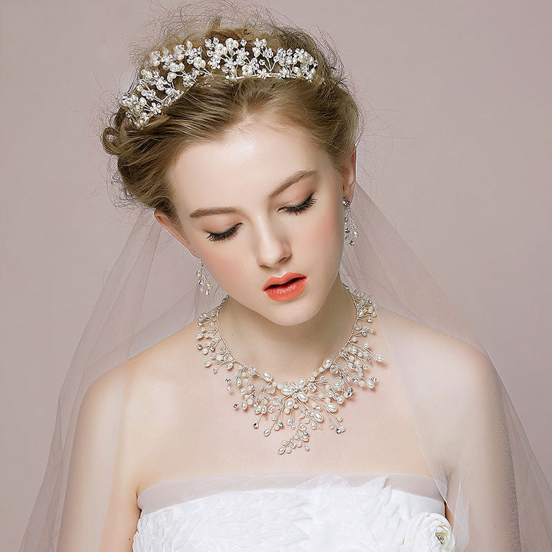 Hand Wired Bridal Headpiece - Crystal Crown with Floral Pattern - Pearl and Crystal Bridal Halo HP13