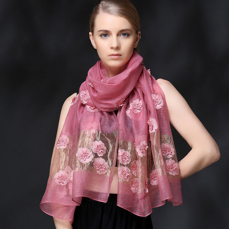 PINK FLORAL EMBROIDERED MULBERRY SILK SCARF - HANDMADE FLORAL EMBROIDERED SILK SCARF - PINK FLORAL SILK SCARF -2016K1