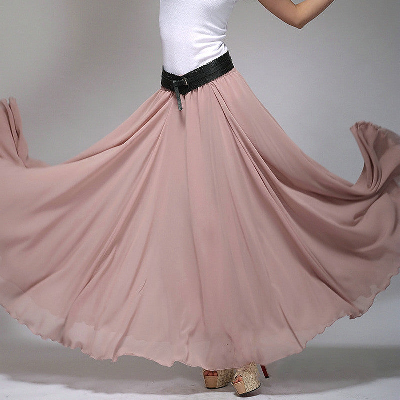 Rosy Brown Chiffon Maxi Skirt with Extra Wide Hem