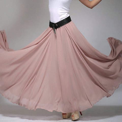 Rosy Brown Chiffon Maxi Skirt with Extra Wide Hem - Long Pale Violet Chiffon Skirt - SK2d
