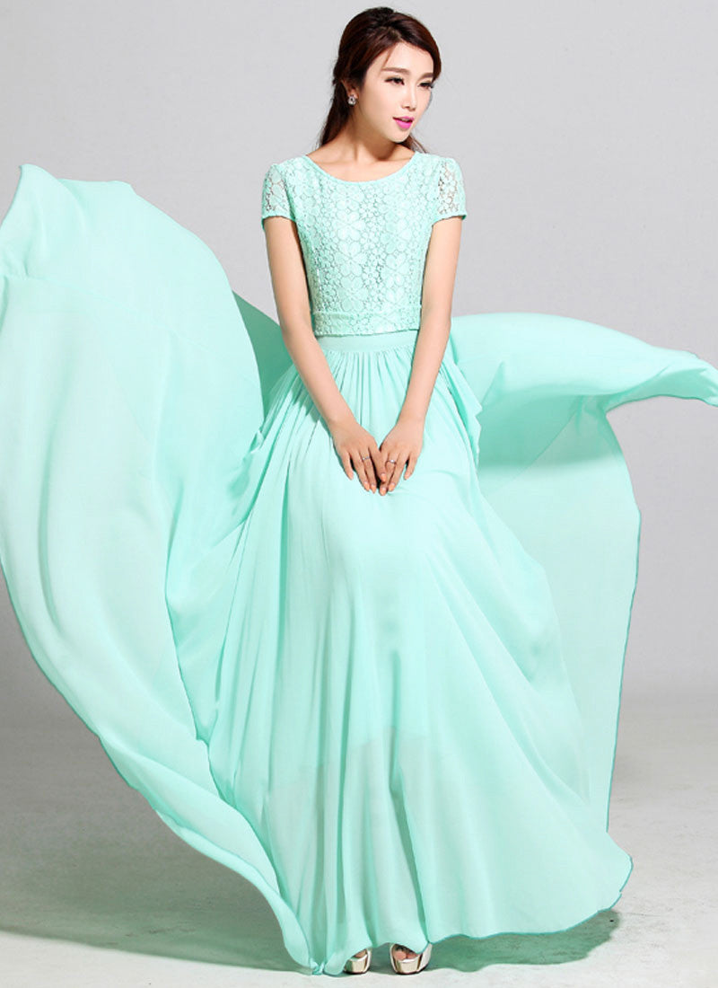 6f5d84ec192 Aquamarine Lace Chiffon Maxi Dress with Cap Sleeves RM320