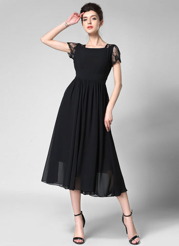 V Back Black Chiffon Midi Dress with Modified Court Neck and Lace Details MD42