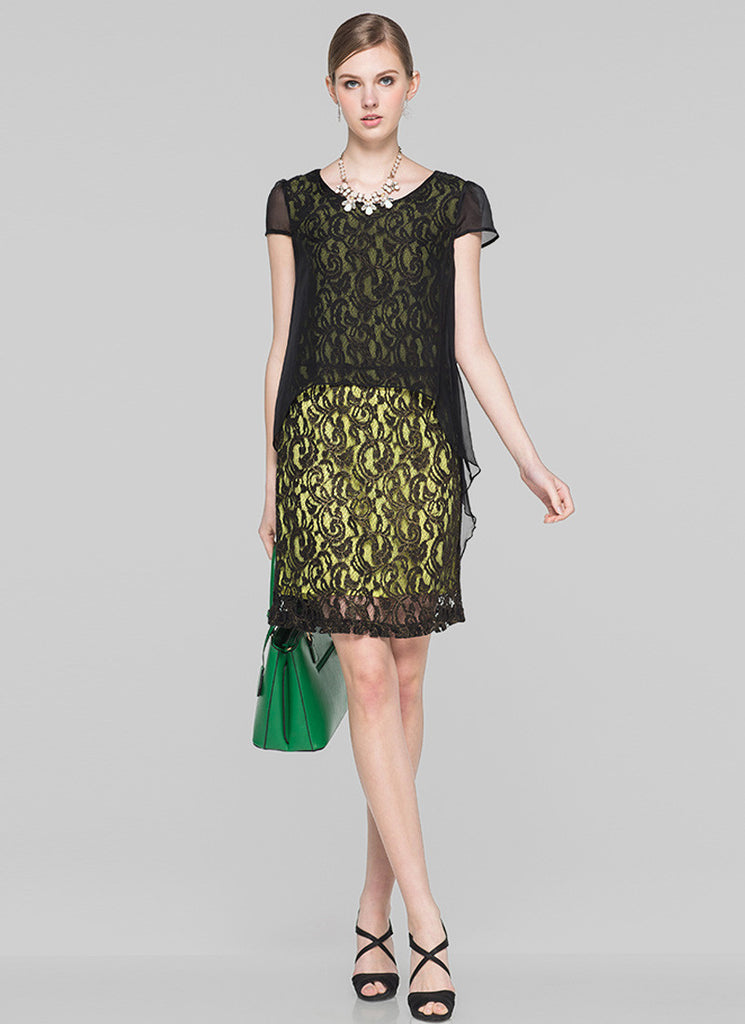 Layered Black Lace Sheath Dress with Contrast Colored Yellow Lining and Chiffon Overlay
