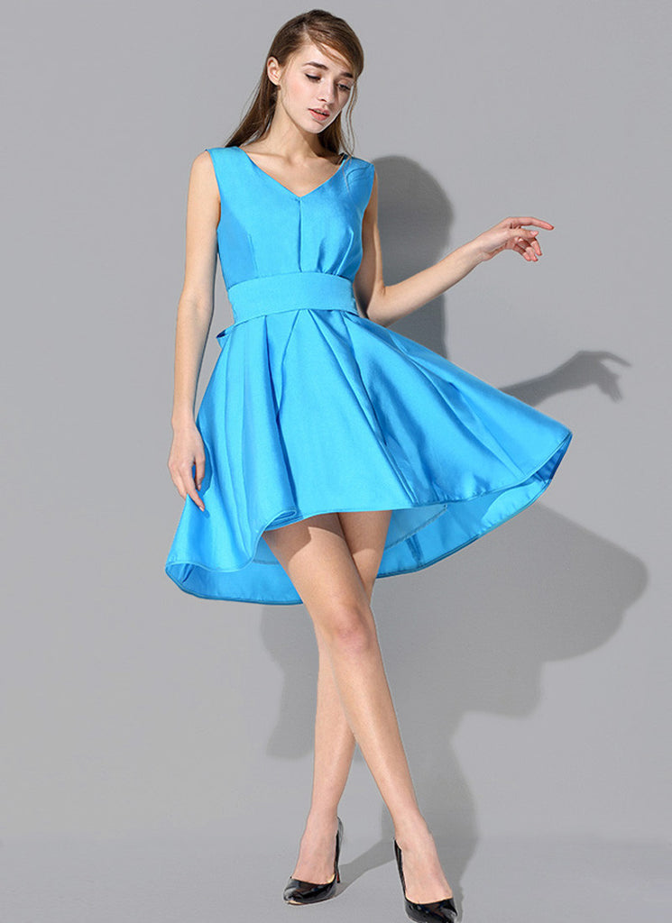 Deep Sky Blue Fit and Flare Hi-lo Hem Mini Dress with Bow Tie Sash