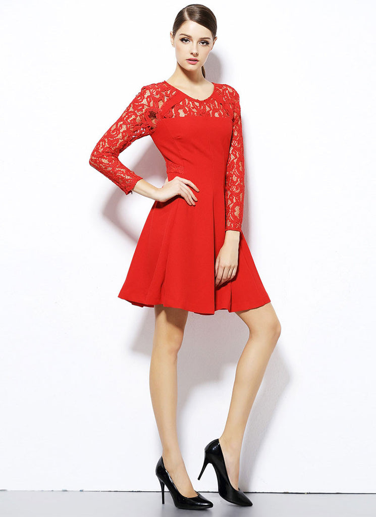 Long Sleeve Red Fit and Flare Mini Dress with Lace Details