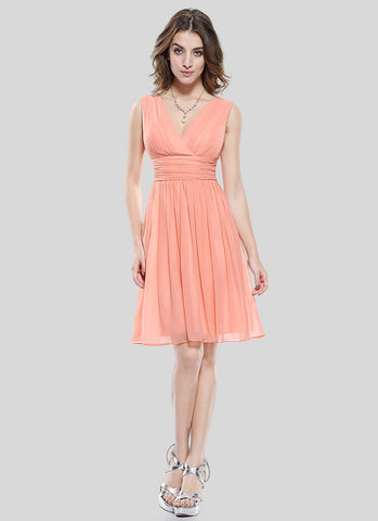 V Neck V Back Light Salmon Chiffon Mini Dress with Ruched Waist Yoke MN82