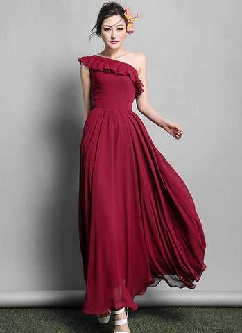 Dark Red One Shoulder Maxi Dress with Flounce Neck RM638