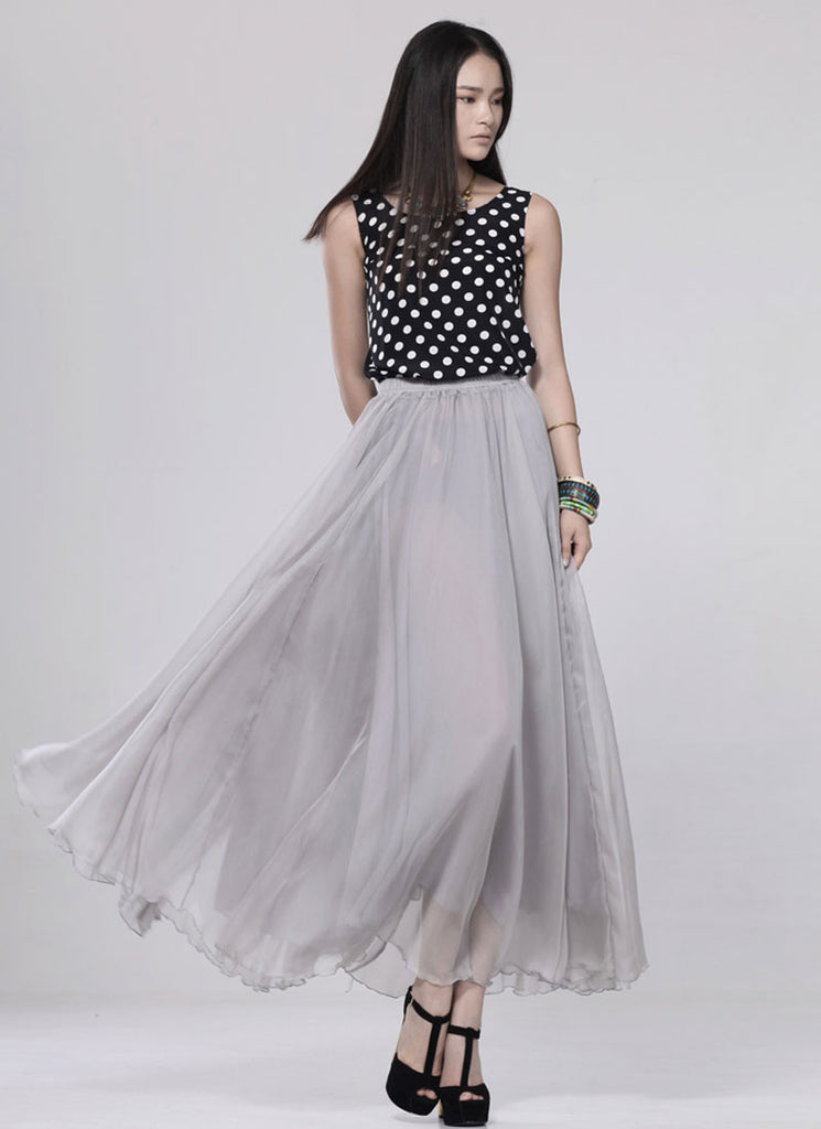 Light Gray Chiffon Maxi Skirt