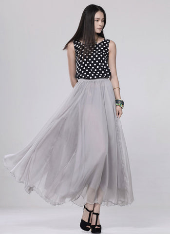 Light Gray Chiffon Maxi Skirt with Extra Wide Hem - Long Grey Chiffon Skirt - SK5a1