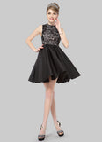 Black Lace Chiffon Mini Dress with Stand Collar