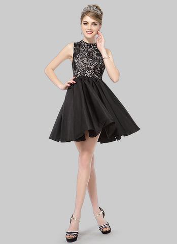 Black Lace Chiffon Mini Dress with Stand Collar RD408