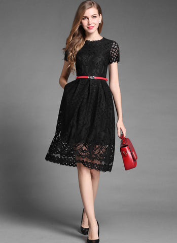 Black/White Lace Mini Dress with Short Sleeves and Scalloped Hem MN33