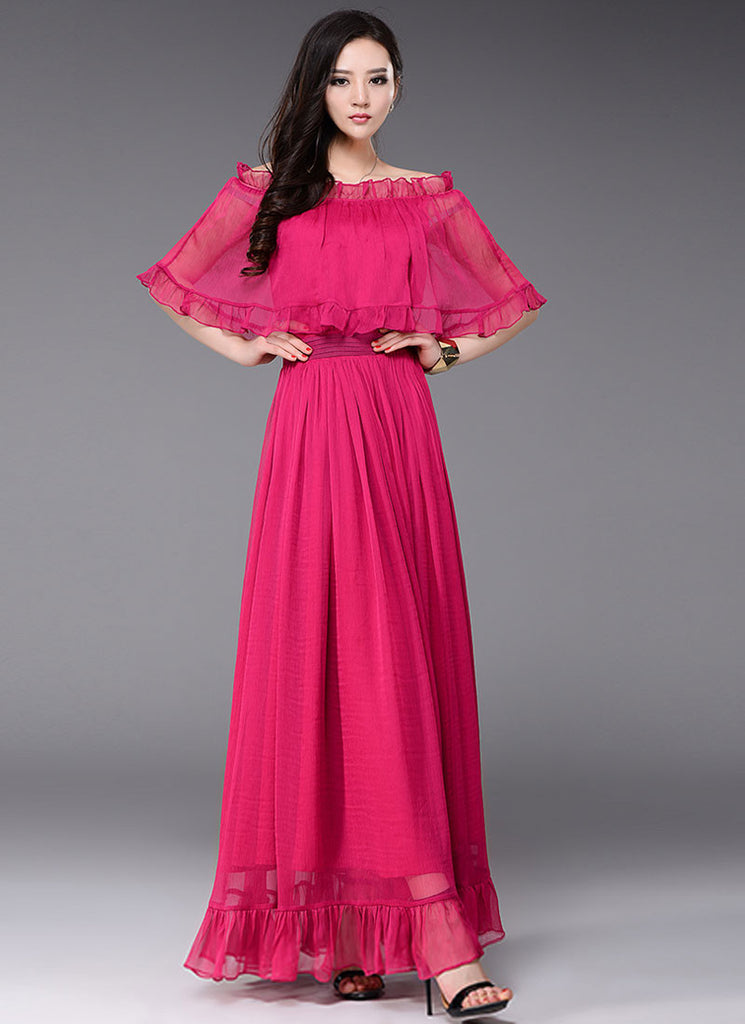 Off-Shoulder Deep Pink Maxi Dress with Cloak Top