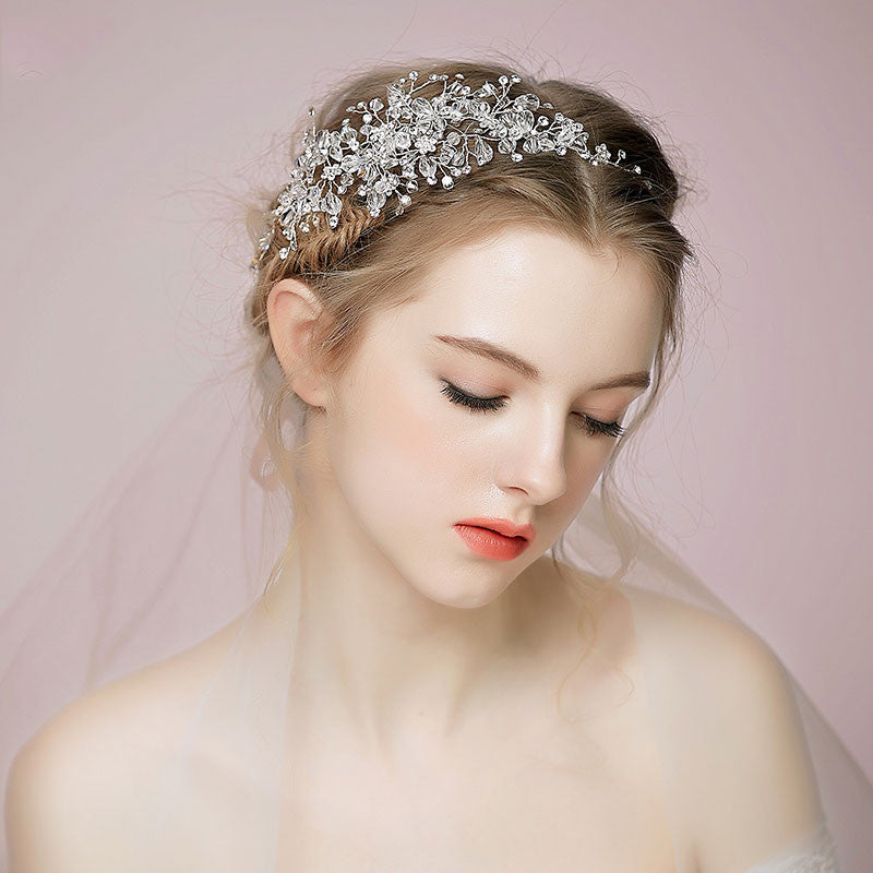 Hand Wired Bridal Headpiece - Crystal Wreath with Floral Pattern - Crystal Bridal Halo HP14