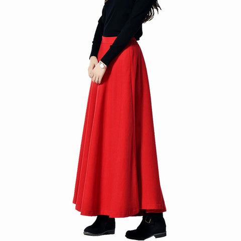 True Red Wool Blend Maxi Skirt - Red Skirt with Extra Wide Hem - WSK2E