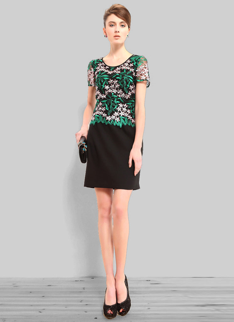 Black Sheath Mini Dress with Green Embroidered Top and Asymmetric Peplum