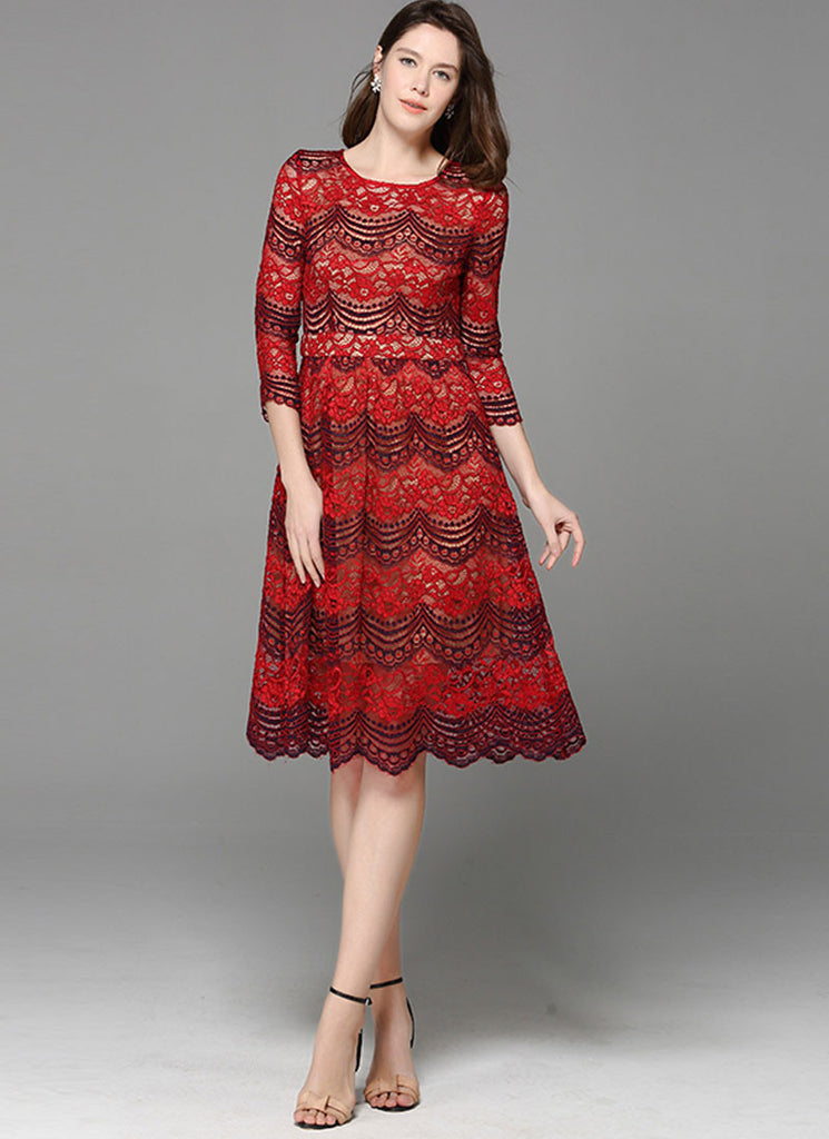 Red Lace Midi Dress with Contrast Colored Dark Blue Scallop Details