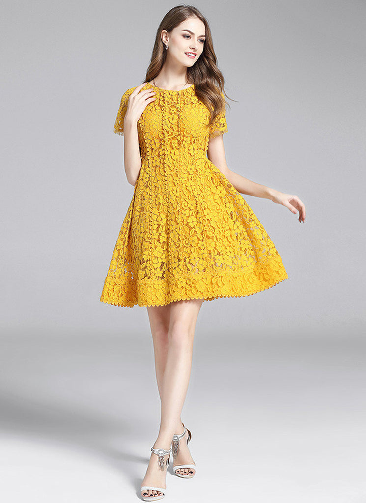 Gold Yellow Lace Aline Mini Dress with Scalloped Lace Trim Details