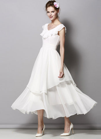 Ivory Chiffon Maxi Dress with Drape Neckline and Asymmetric Layered Skirt RM317