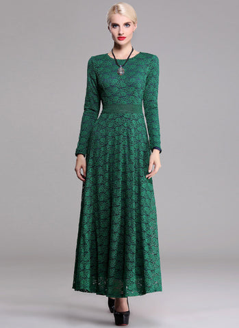 Long Sleeve Dark Green Lace Maxi Dress with Contrast Colored Lining RM377
