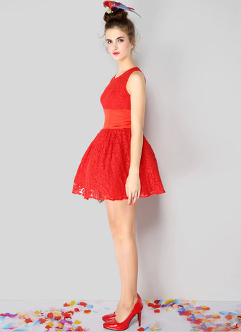 Red Lace Satin Fit and Flare Mini Dress RD349
