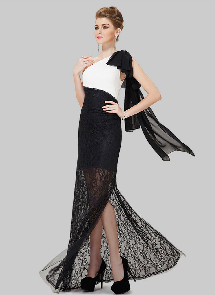 Contrast Color Black and White Lace Evening Gown with High Slit