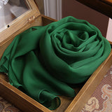 Dark Green Silk Chiffon Scarf - Deep Green Mulberry Silk Scarf SS18