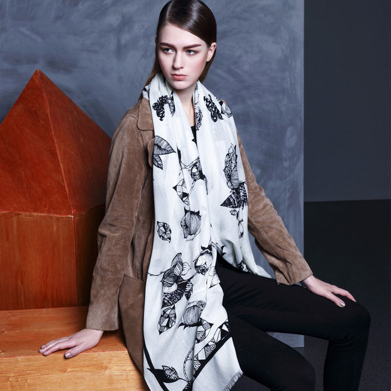 White Floral Wool Scarf - Lightweight Floral Wool Scarf - White Wool Scarf - WS2