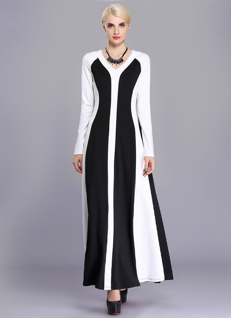 Long Sleeve Black Maxi Dress with White Fabric Panel Details