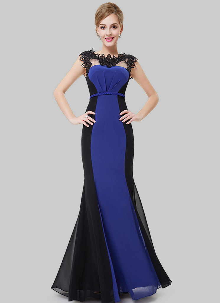 Black and Blue Mermaid Evening Gown with Lace Details