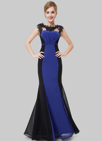 Black and Blue Mermaid Evening Gown with Lace Details RM475