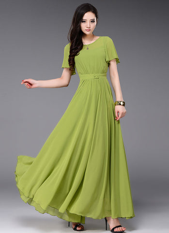 Olive Green Maxi Dress with Flutter Sleeves and Buttoned Waist Yoke RM353