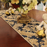 Retro Style Table Runner with Braided Piping Detail and Yellow Fringes TR3