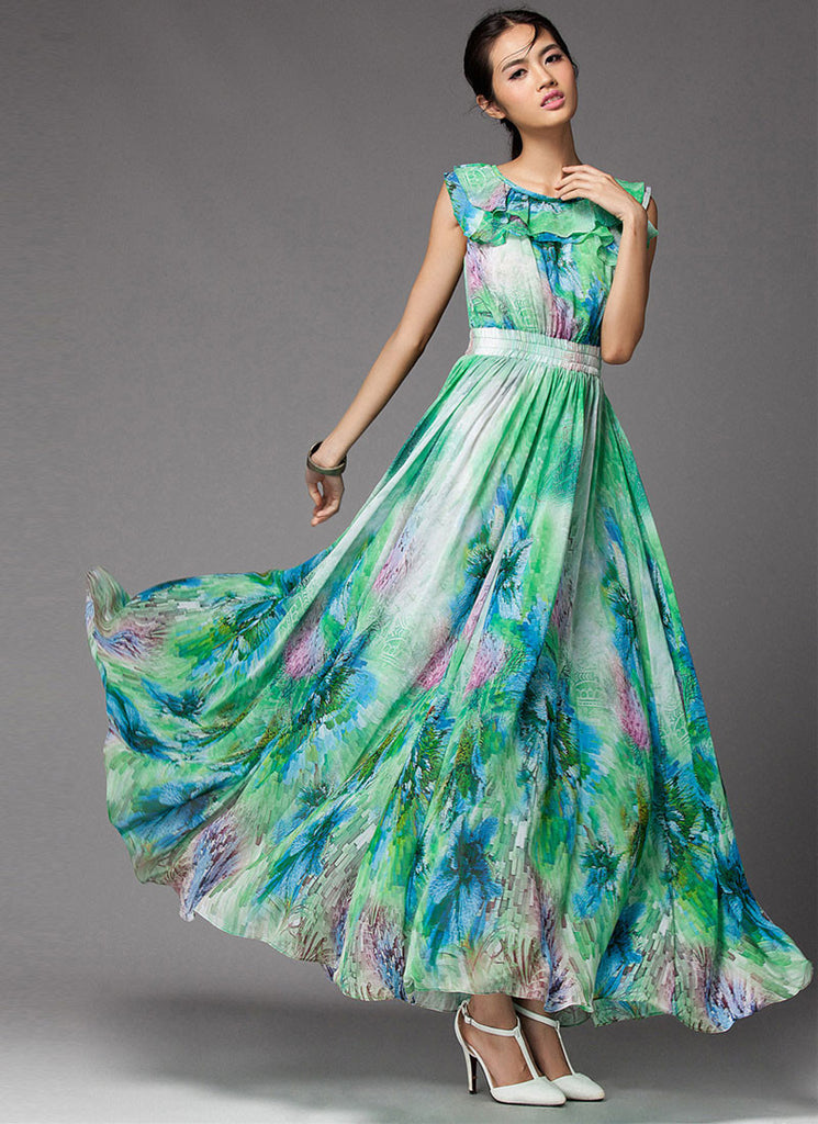 Green Floral Maxi Dress with Layered Flounce Neckline and Elastic Waist