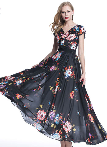 V Neck Black Floral Maxi Dress with Ruched Top and Waist Yoke RM710
